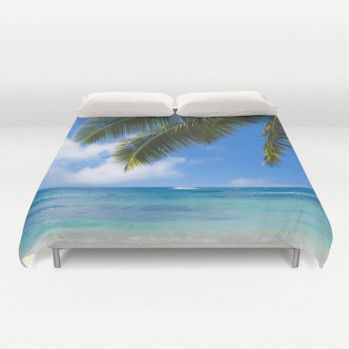 Duvet cover with palm leaves over ocean Duvet cover with palms #duvetcover #duvet #palms #ocean #beachlovedecor