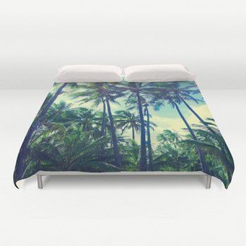 Hawaiian palms retro effect duvet cover #duvetcover #bedding #beach #palms #beachlovedecor