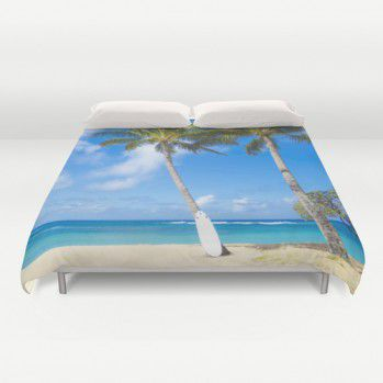 Palm tree and surfboard on the Hawaiian beach duvet cover #duvetcover #palm #beach #ocean #surf #Hawaii #beachlovedecor