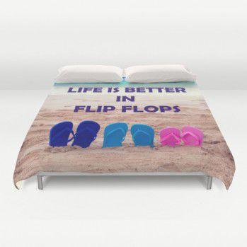 Duvet cover with flip flops on the beach #duvet #duvetcover #beach #beachlovedecor