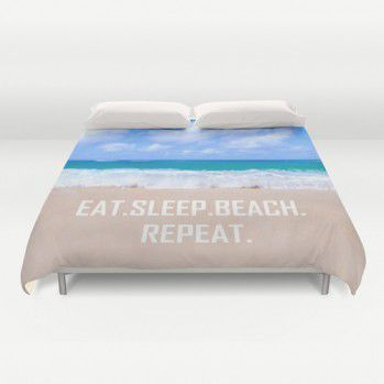 "Duvet cover ""Eat. Sleep. Beach. Repeat"" #beachlovedecor #duvetcover #ocean"