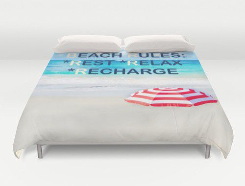 "Duvet Cover ""Beach rules: Rest. Relax. Recharge!"" #duvet #duvetcover #beachlovedecor #ocean #beach"