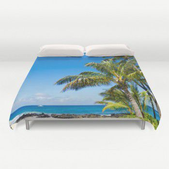 Duvet cover with Hawaiian palm next to the ocean #duvetcover #palm #ocean #beach