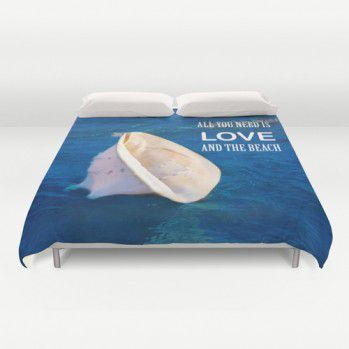 "Duvet Cover ""All you need is love... And the beach"" with big seashell #duvet #duvetcover #beachlovedecor #ocean #seashell"