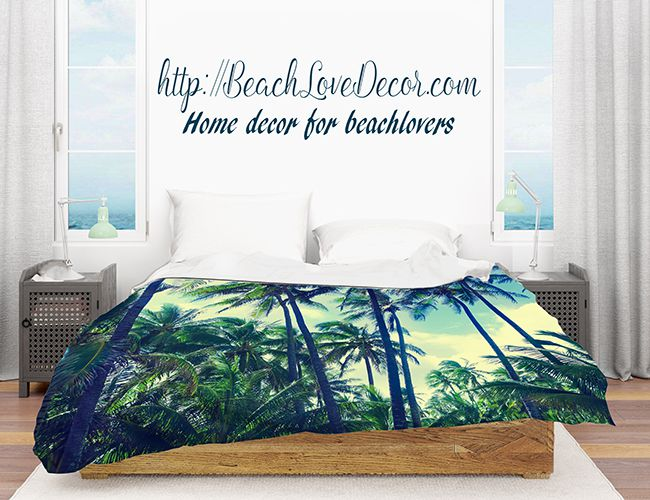 Beach Duvet Cover With Hawaiian Palms Retro Effect