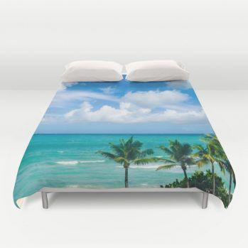 Miami Palm trees on the beach duvet cover #duvetcover #Miami #palm #beach