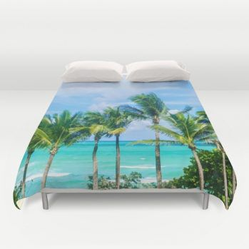 Miami palms duvet cover #duvetcover #ocean #palm #beachlovedecor
