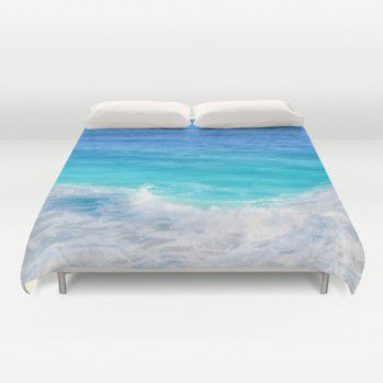 Teal-blue ocean water Duvet Cover #duvetcover #coastal #ocean #beachlovedecor