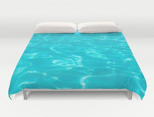 Teal pool water Duvet Cover #beachlovedecor #duvetcover #homedecor