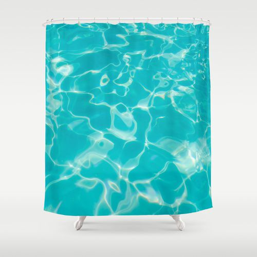 turquoise water shower curtain