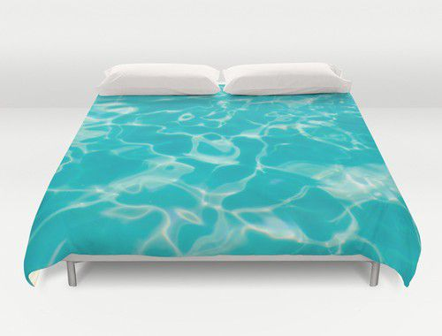 Teal sparkly water duvet cover #duvet #duvetcover #teal #water #beachlovedecor