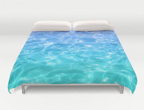 Blue - Teal Pool Water Duvet Cover #beachlovedecor #duvetcover #ocean