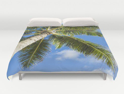 Duvet cover with Palm #duvetcover #palm #beachlovedecor