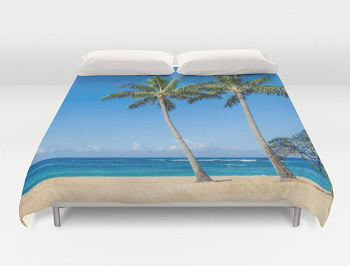 Duvet cover with Two Coconut Palms on the sandy beach in Hawaii #duvet #duvetcover #beachlovedecor #ocean #palm