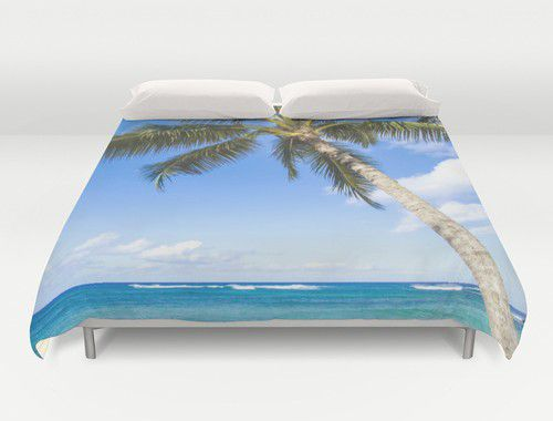 Duvet cover with palm tree over ocean Duvet cover with palms #duvetcover #ocean #duvet #palms #beachlovedecor