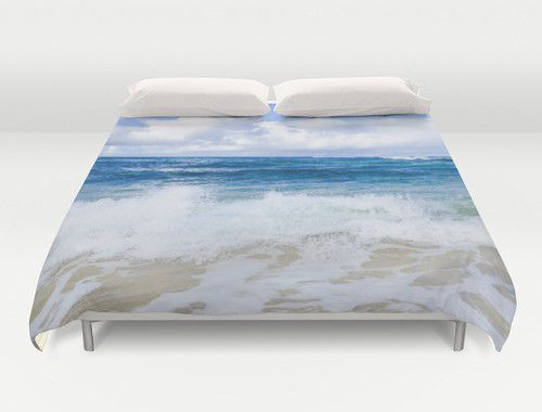 Blue and white ocean Duvet Cover #beachlovedecor  #duvetcover #ocean