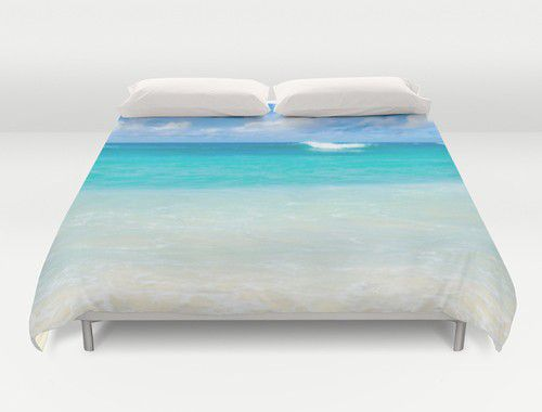 Tropical Teal ocean water Duvet Cover #duvetcover #ocean #beachlovedecor #king #queen #full #twin