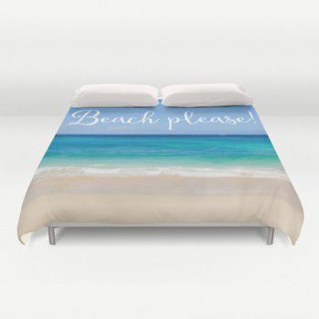 "Tropical beach Duvet Cover with sign ""Beach please!"" #duvetcover #tropical #ocean #beach #beachlovedecor"