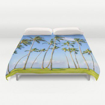 Duvet cover with palm trees in Hawaii Duvet cover with palms #duvetcover #duvet #palms #beachlovedecor