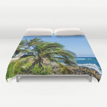 Duvet cover with two Palm trees on the beach in Hawaii #duvet #duvetcover #beachlovedecor #ocean #palm