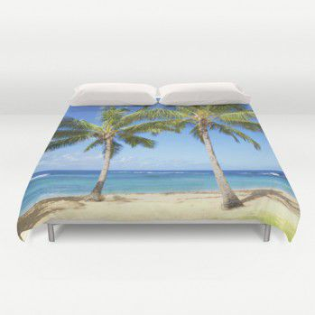 Duvet cover with two Palm trees on the beach #duvet #duvetcover #beachlovedecor #ocean #palm