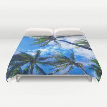 Hawaiian Palm trees and sky duvet cover #duvetcover #palms #tropical #beachlovedecor