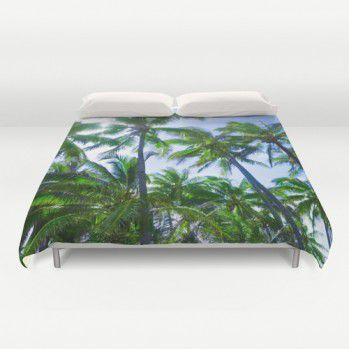 Hawaiian palm trees duvet cover #duvetcover #palmtrees #beachlovedecor #Hawaiian