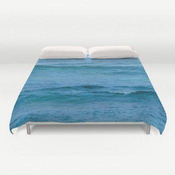 Deep turquoise ocean Duvet Cover #beachlovedecor #duvetcover #ocean