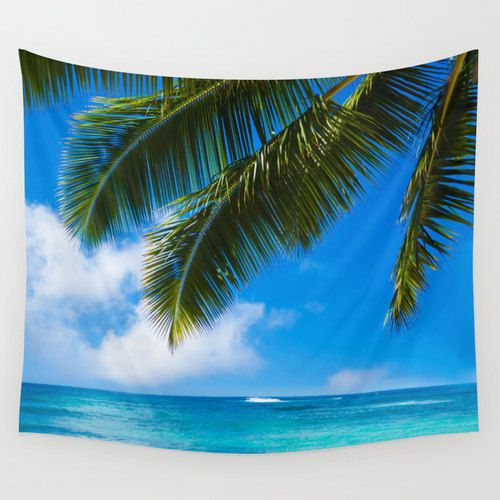 Palms Leaves Over Ocean Wall Tapestry 6 Sizes Grommets