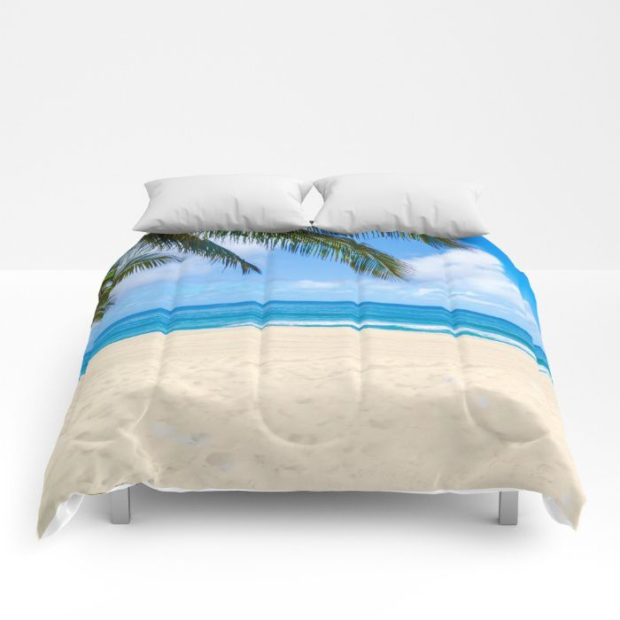 Palm over ocean comforter, sea, bedding, beach, coastal ...