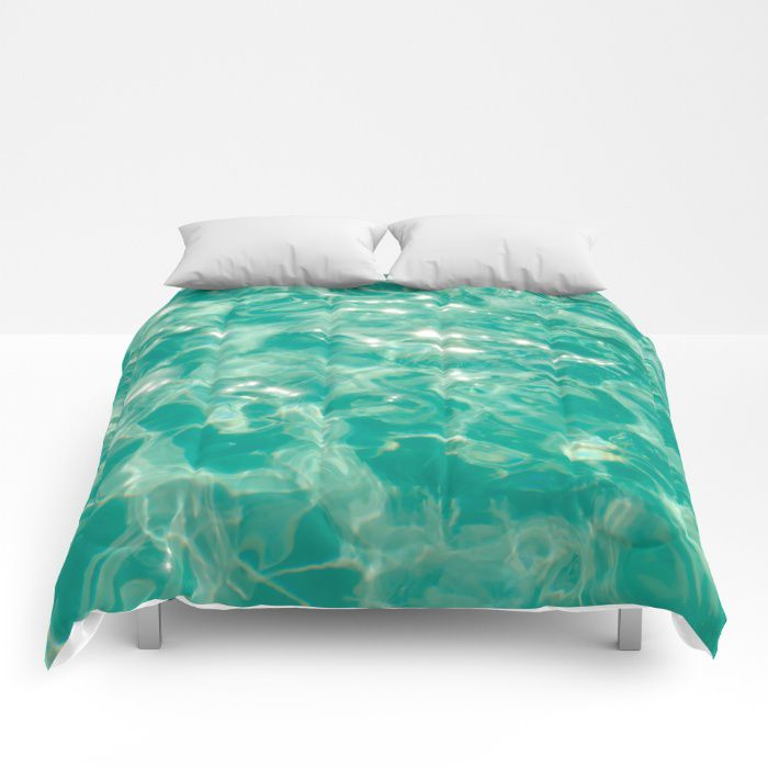 Turquoise sparkly water comforter ocean beach coastal style full king queen sizes