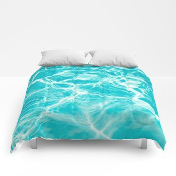 Teal Sparkly Water Comforter Ocean Beach Coastal Style