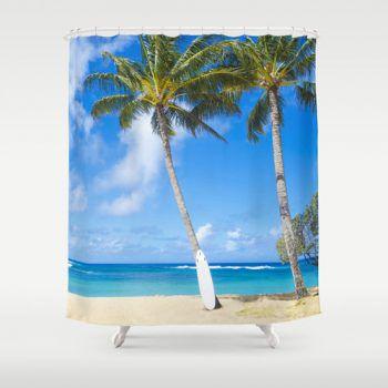 Surf board under palms on the Hawaiian beach shower curtain from beachlovedecor