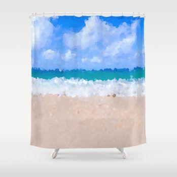 abstract beach-shower curtain