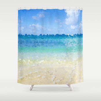 abstract hawaiian beach shower curtain
