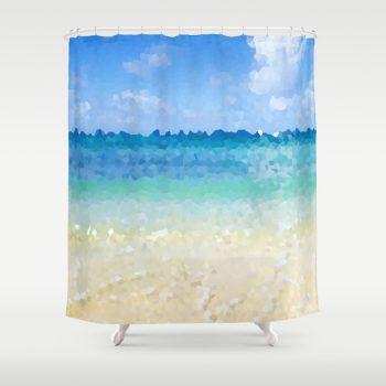 abstract hawaiian beach shower curtain