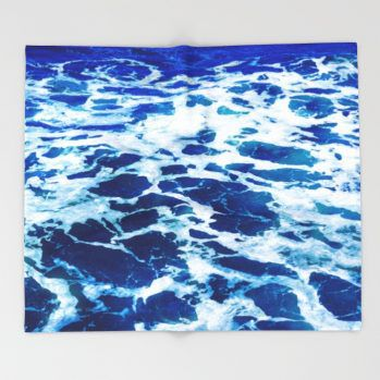 deep blue ocean surf-throw-blankets