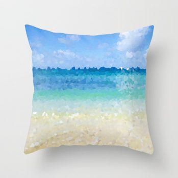 abstract Hawaiian beach pillow cover