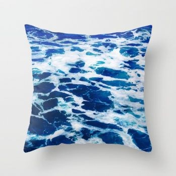 deep blue ocean surf pillow