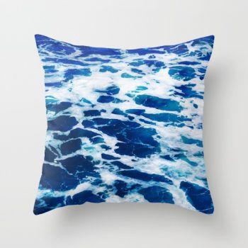 deep blue ocean surf pillow