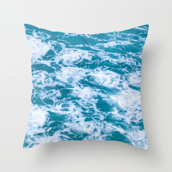 Deep Turquoise Ocean Water Throw Pillow Cover Cotton Decorative Pillow Case Ocean Bedding 5 Sizes Beachlovedecor Com Modern And Beach Themed Home Decor
