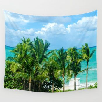 Miami Beach Palm Trees Wall Tapestry 6 Sizes Grommets