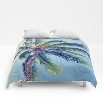 retro palm 2 comforter by beachlovedecor