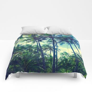 retro palms comforter by beachlovedecor