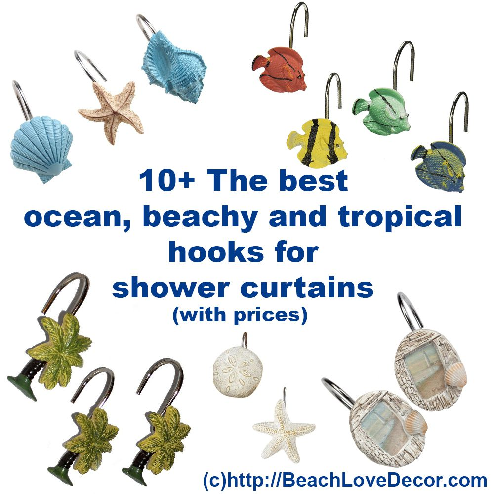 10+ BEST OCEAN, BEACHY and TROPICAL Hooks for Bathroom Shower ...