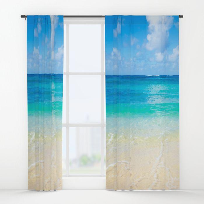 Hawaiian Ocean Window Curtain Blackout Curtain Sheer