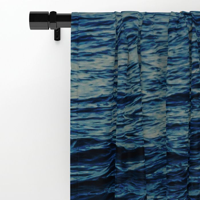 Blue Ocean Window Curtain Blackout Sheer Coastal Nautical Sea