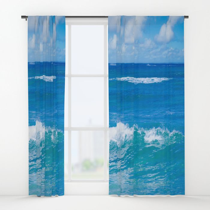 Blue Tropical Ocean Window Curtain Blackout Curtain