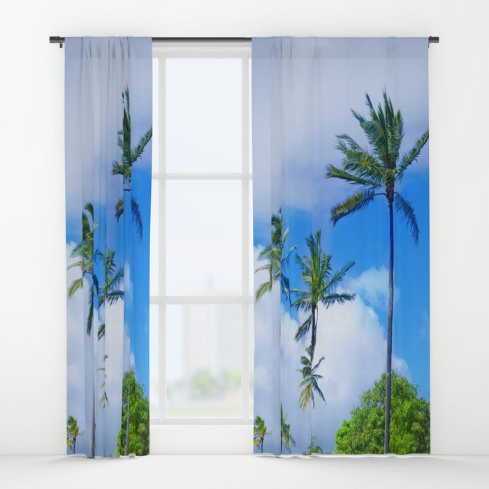 High Palm Window Curtain Blackout Sheer Nautical