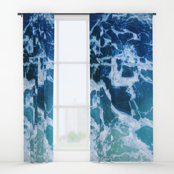 Blue Turquoise Ocean Water Window Curtain Blackout Sheer